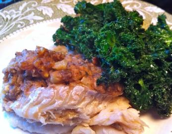 Gumbo stuffed flouynder Kale